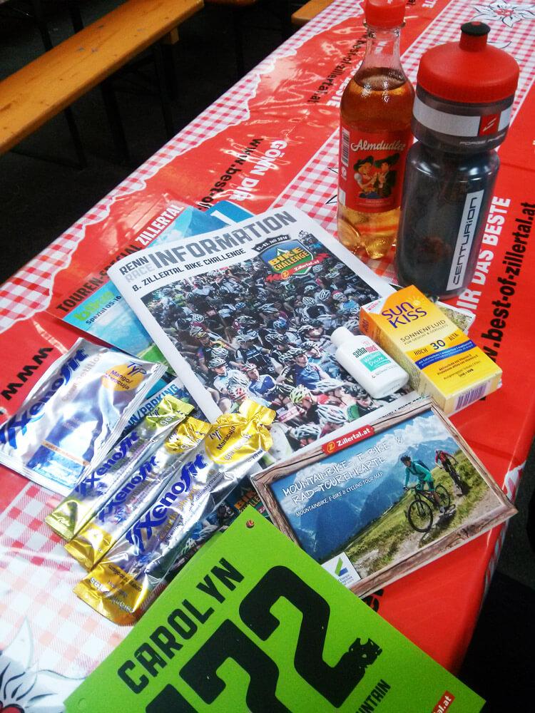 Der Starterbeute ist bei der Zillertal Bike Challenge gut gefüllt!