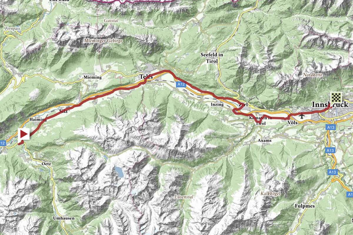Strecke Mannschaftszeitfahren Damen - Rad-WM Innsbruck