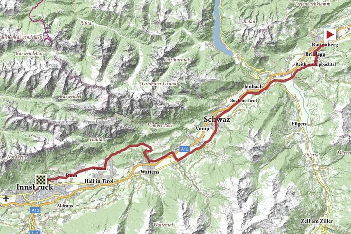 Strecke EZF Männer Elite Rad-WM Innsbruck 2018